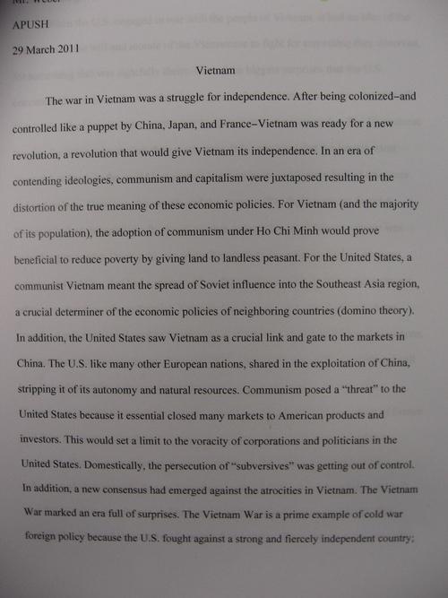Digication e-Portfolio  Benjamin Weber Teaching Portfolio - vietnam war essay
