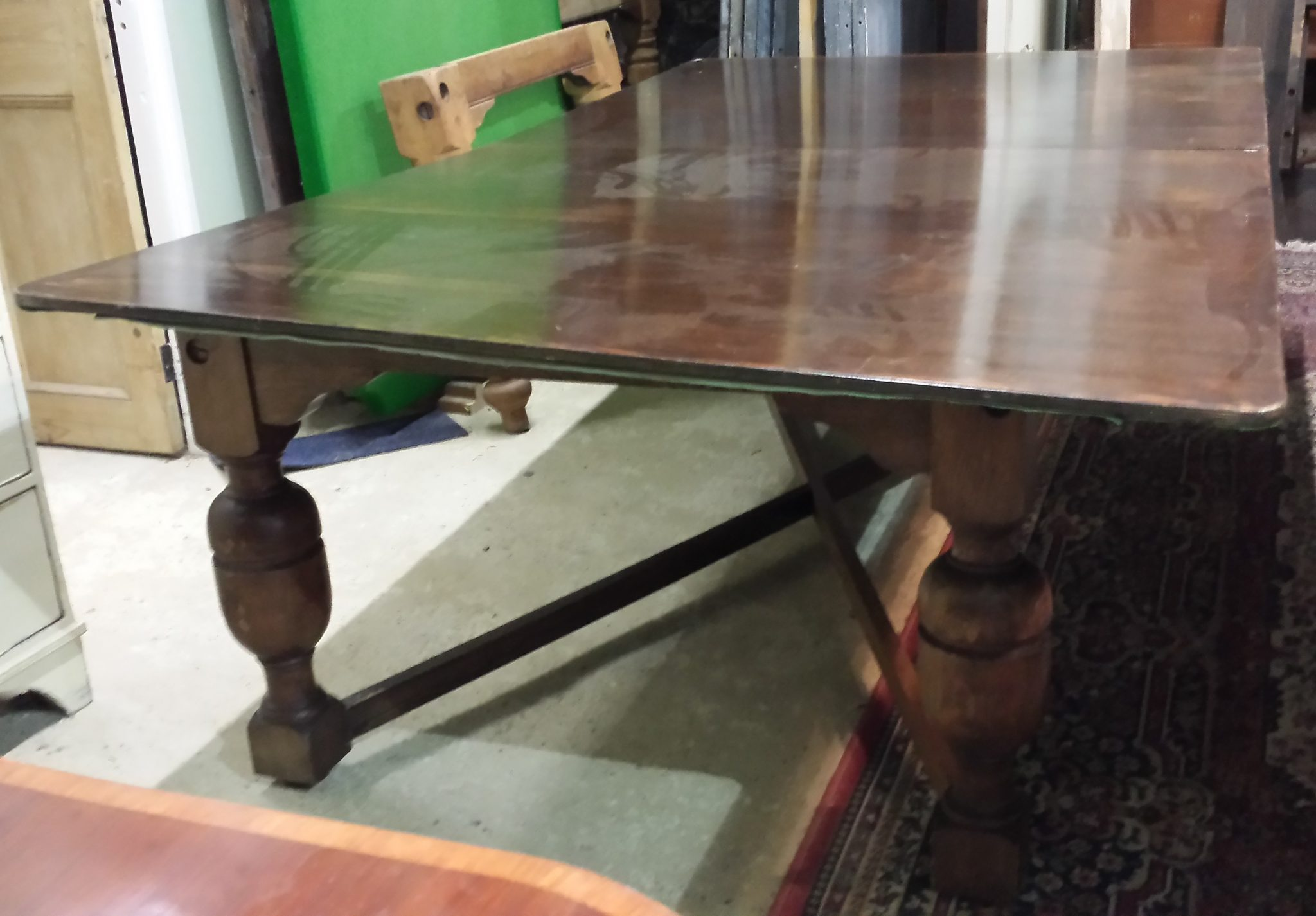 Watt Dining 7ft Burroughes And Watts Oak Antique Snooker Dining Table