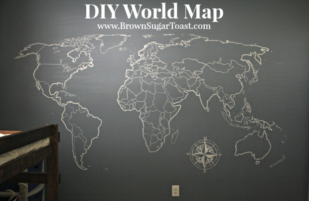DIY World Map Wall Art \u2013 Brown Sugar Toast - Black And Grey World Map