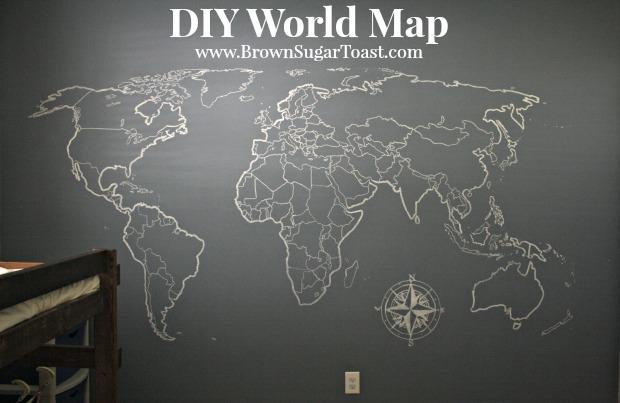 DIY World Map Wall Art \u2013 Brown Sugar Toast