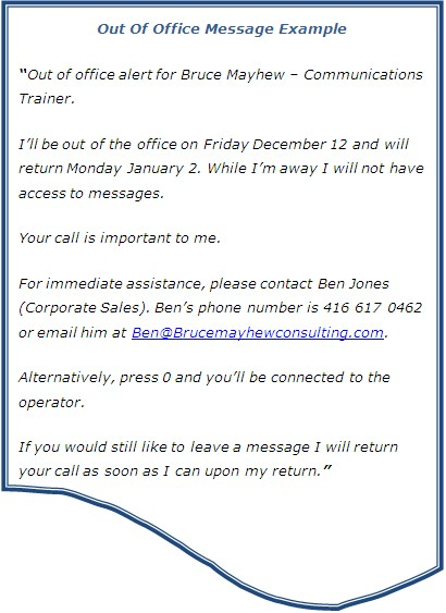 Out Of Office Reply \u003d Customer Service Bruce Mayhew Blog Training - greeting email sample