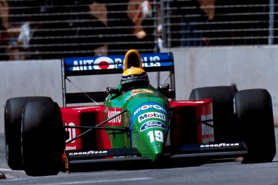 Moreno com a Benetton em Adelaide, 1990