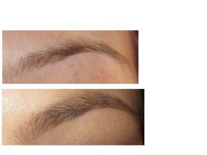 Top: Natural brow Bottom: Brow filled in with Anastasia Dipbrow in Soft Brown