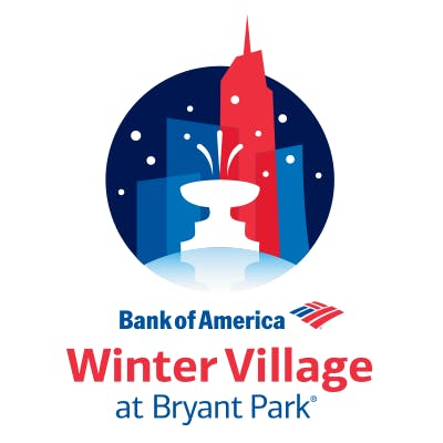 Bryant Park - Bank of America Winter Village - holiday signs for closing office
