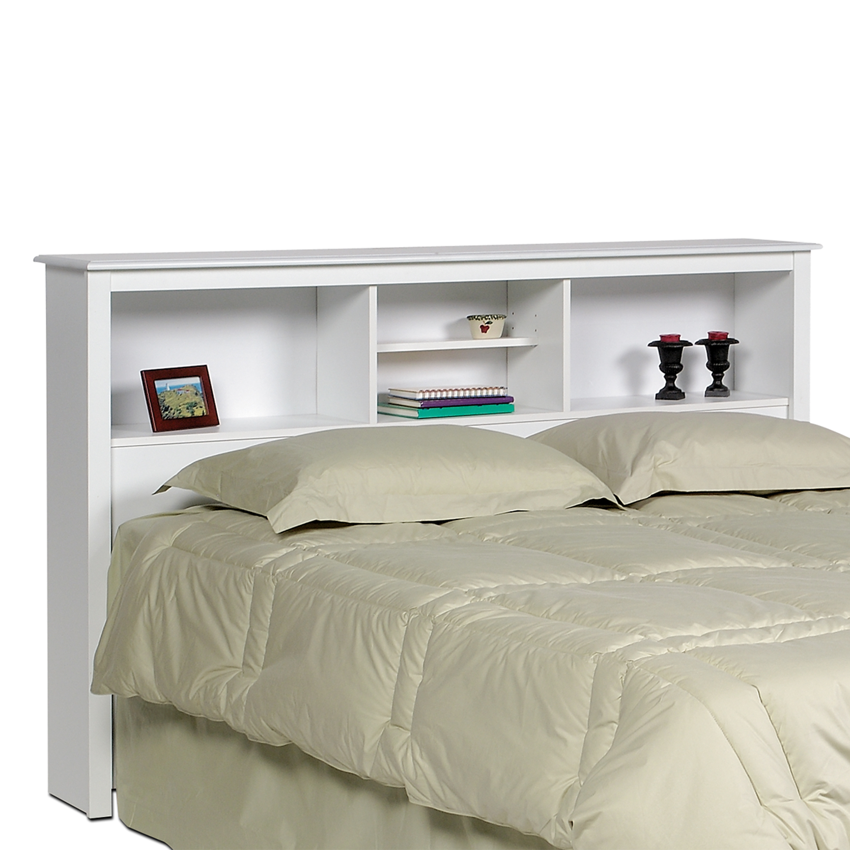 Bed Headboard Monterey White Double Queen Bookcase Headboard