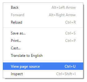 Drop down menu to view page source