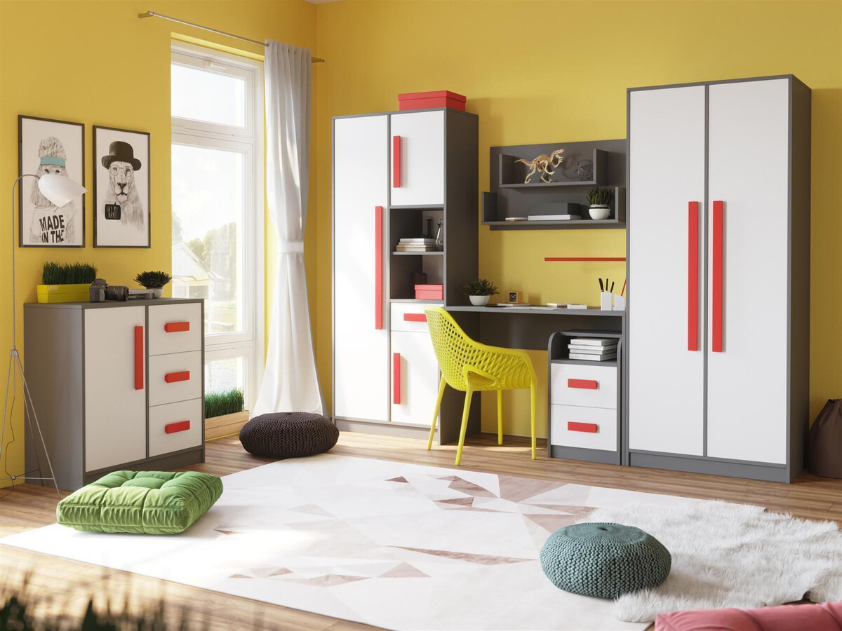 Youth room for girls & boys GIT 03 (6-piece) Gray / White / Red, 909,75 €