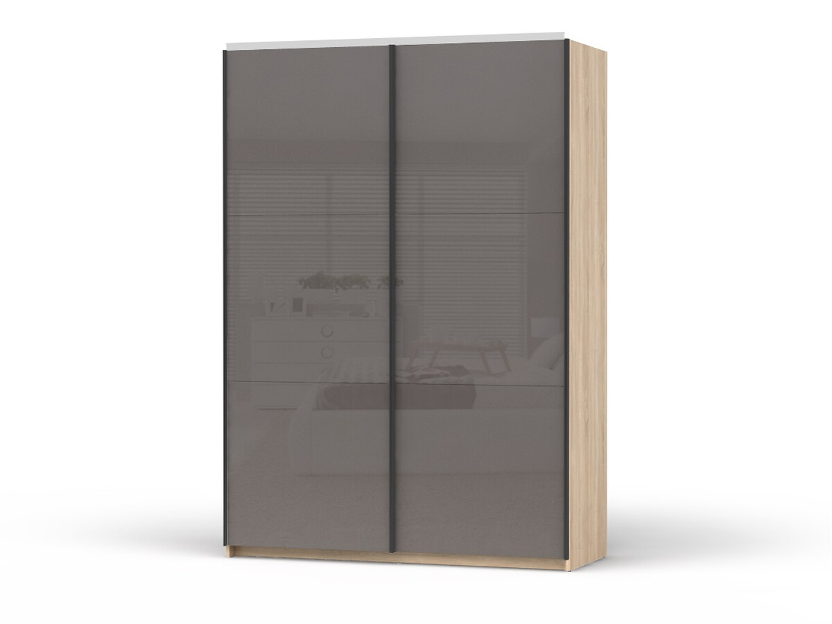 Eiche Sonoma Sliding Door Closet Colin Width 153 Cm Eiche Sonoma With Anthracite Gloss Fronts