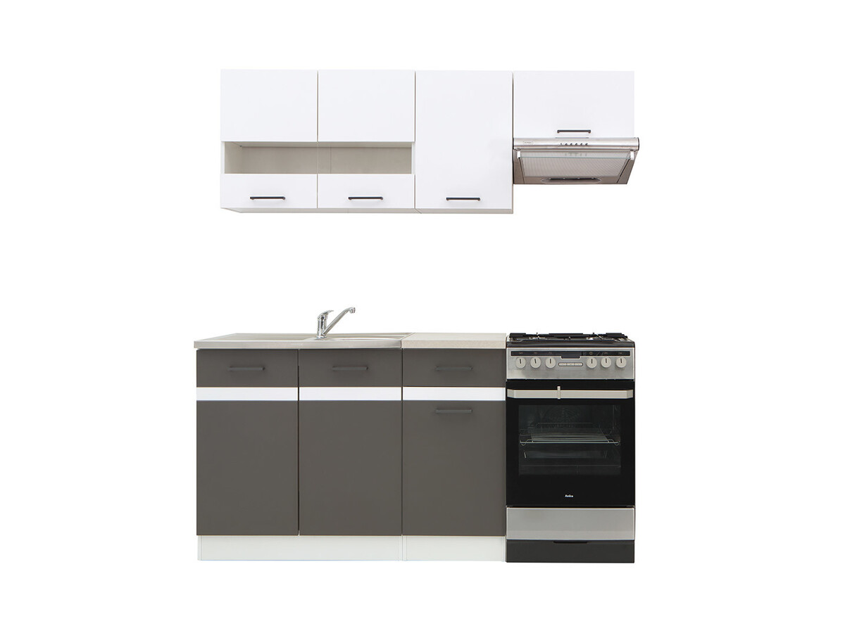 Unterschrank Einbauherd Kitchen Kitchenette Junona 170cm White Gloss / Tungsten Gray, 239,95 €