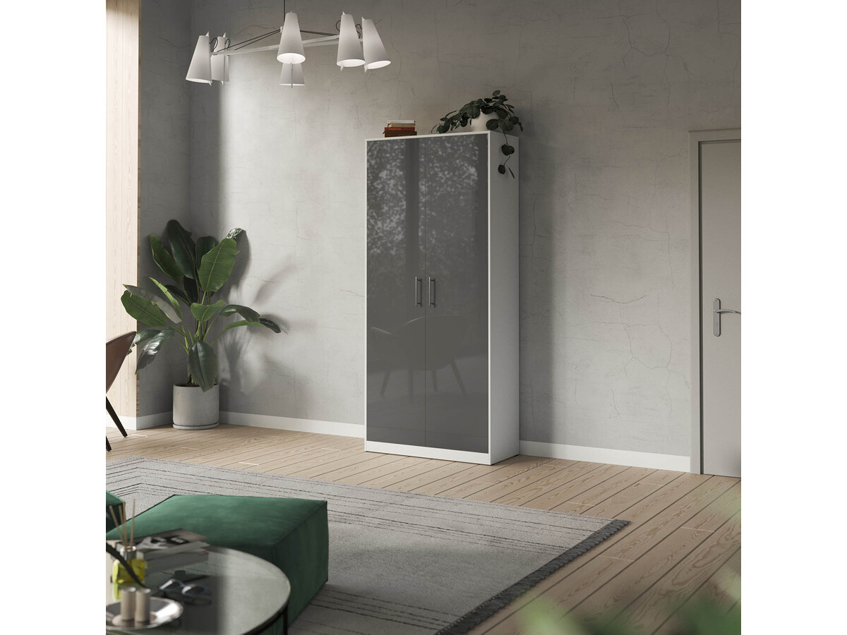 Smartbett Wardrobe 100cm 2 Doors White Anthracite High Gloss 550 95