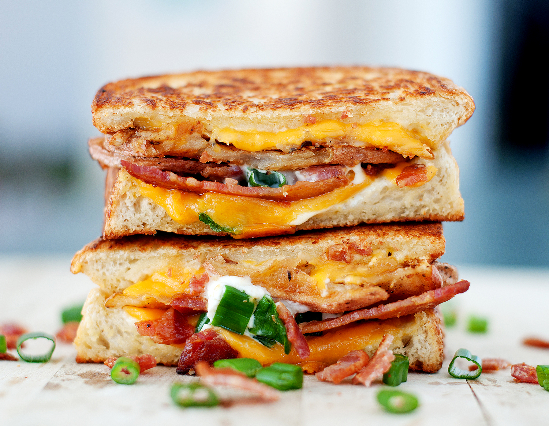 Baked Potato Grilled Cheese | bsinthekitchen.com #grilledcheese # ...