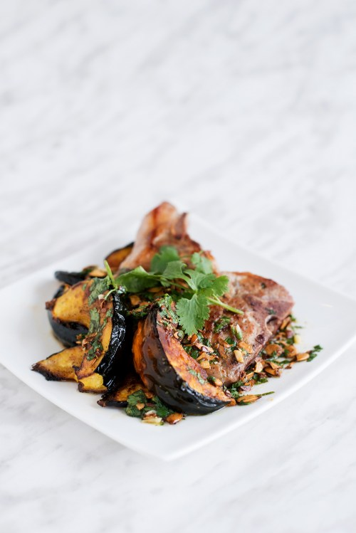 Pork Chop & Acorn Squash with Squash Seed Vinaigrette | bsinthekitchen.com #dinner #pork #bsinthekitchen