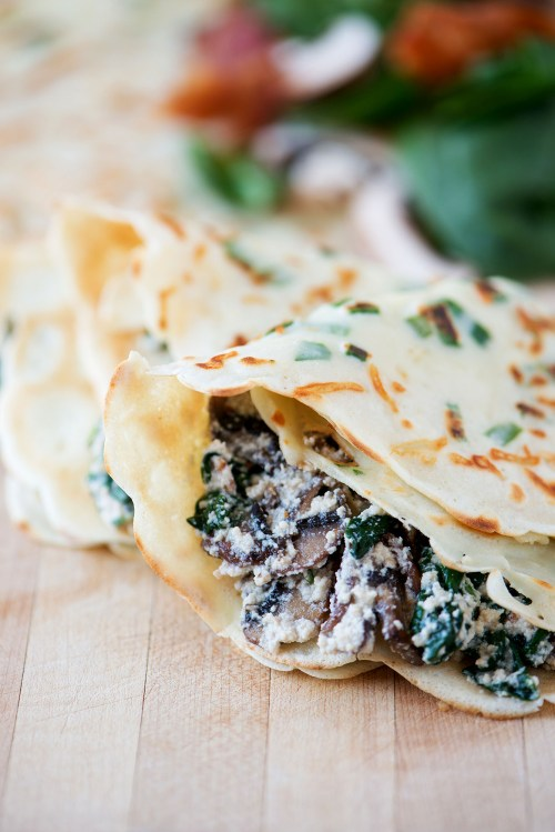 Green Onion Parmesan Crepes with Ricotta, Spinach, Bacon & Mushroom Filling | bsinthekitchen.com #crepes #breakfast #bsinthekitchen