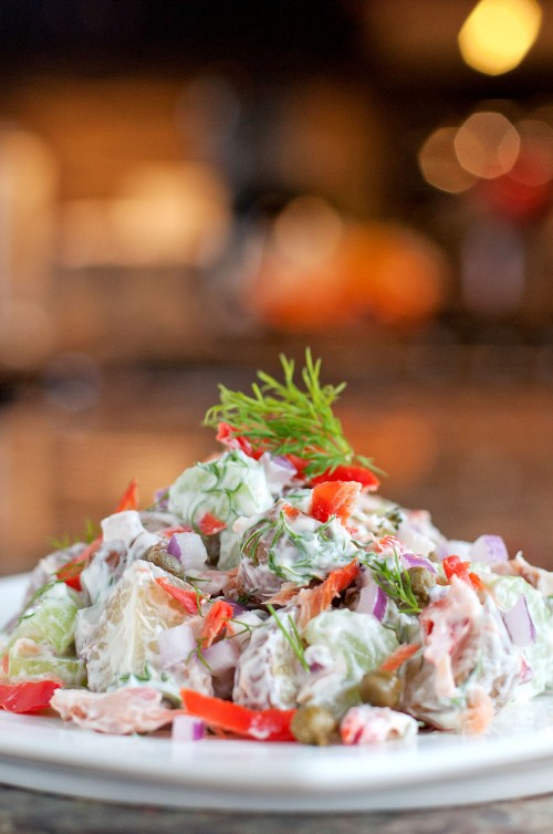Smoked Salmon Potato Salad   bsinthekitchen.com #sidedish #dinner #bsinthekitchen