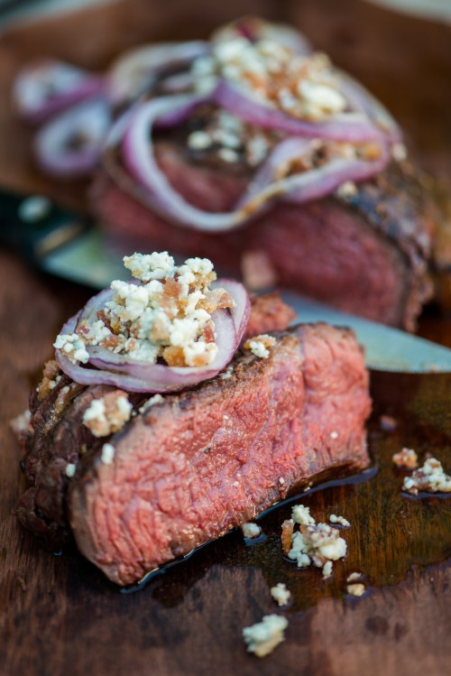 Bacon & Blue Cheese Steak | bsinthekitchen.com #barbecue #steak #bsinthekitchen