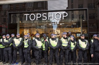 16th April 2016 - Grassroots union 'United Voices of the World' protest at London TopShop branches over suspended workers and London Living Wage