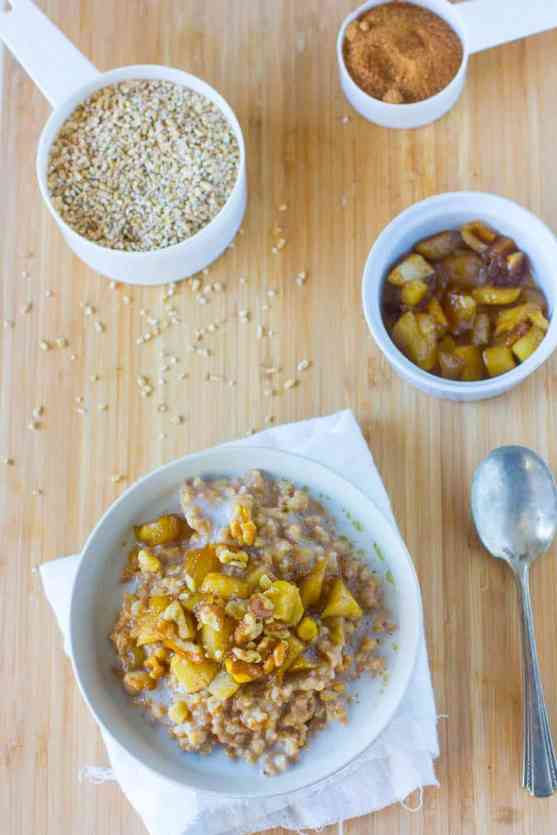 Apple Pie Slow Cooker Steel Cut Oatmeal Recipe | Brown Sugar