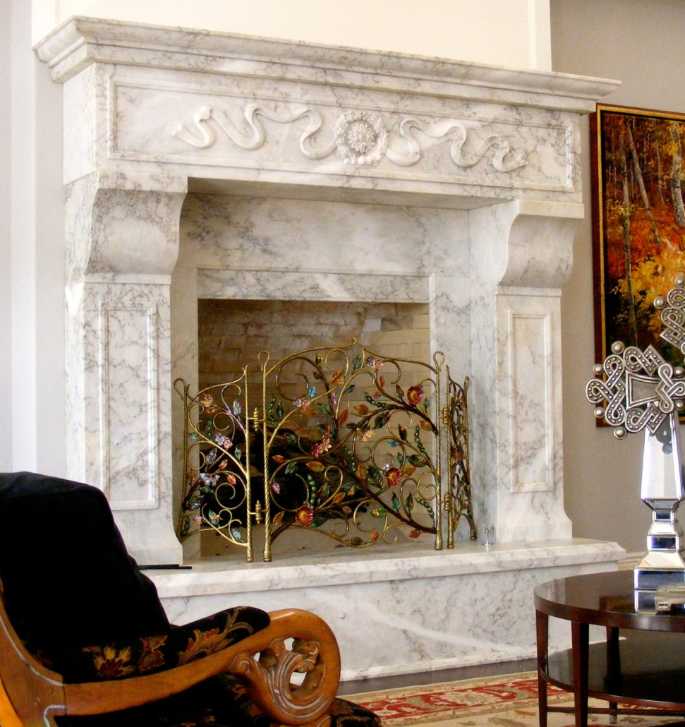 Exterior Landscaping Custom Italian & Tuscan Stone Fireplace Mantels | Bt