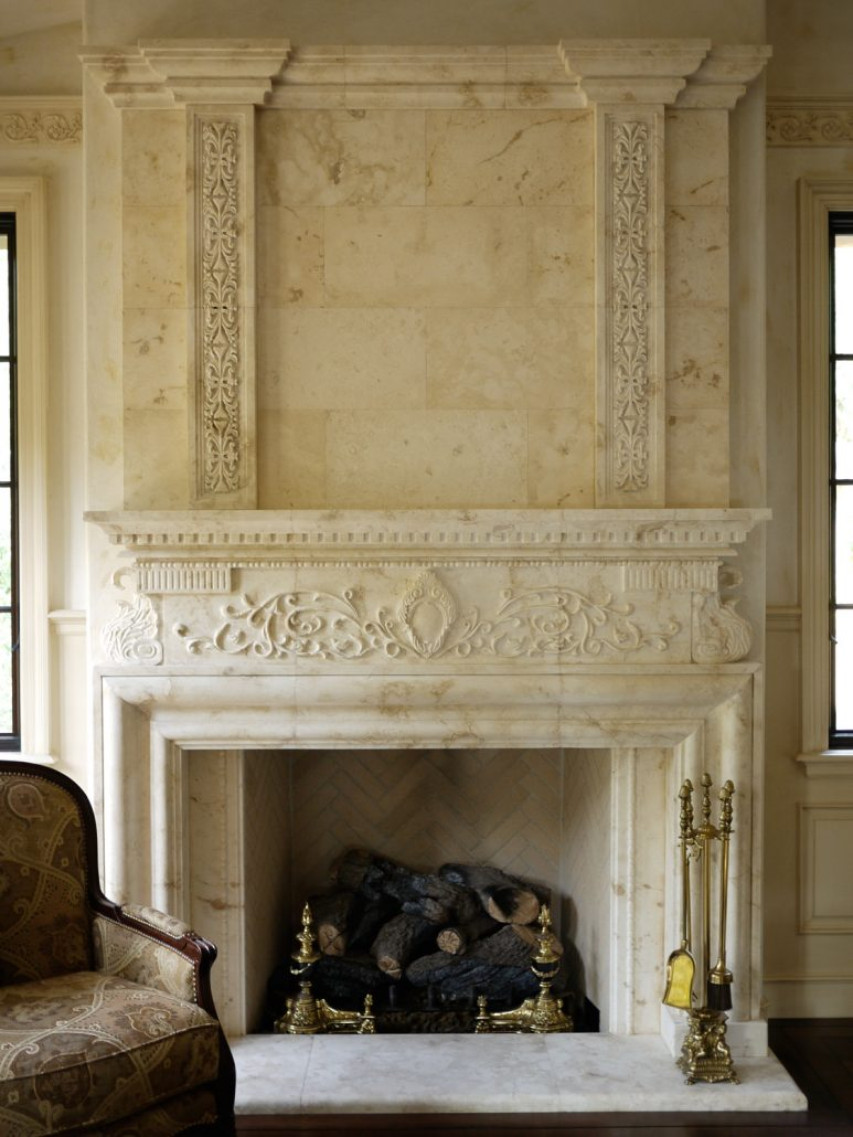 Contemporary Fireplace Italian & Tuscan Stone Fireplace Mantels - Bt