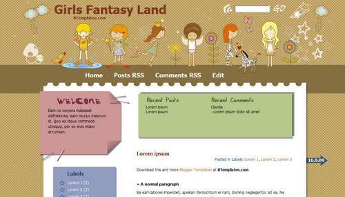 Girls Fantasy Land Blogger template - BTemplates - free cute blogger templates