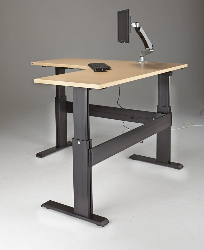 Sit To Stand Desk Newheights Eficiente Lt Series L Shaped Electric Sit Stand Desk