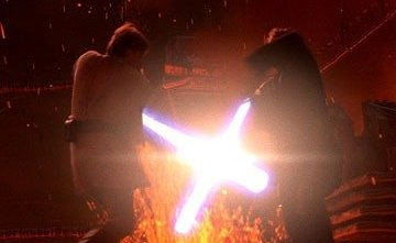 Anakin Skywalker (Hayden Christensen) and his onetime mentor Obi-Wan Kenobi (Ewan McGregor) fight an apocalyptic battle on the roiling lava surface of the planet Mustafar in Star Wars: Episode III Revenge of the Sith. TM & © 2005 Lucasfilm Ltd. All Rights Reserved.