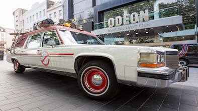 The infamous Ecto-1 car from the newest Ghostbusters movie has been unveiled today at ODEON Leicester Square ahead of the blockbuster reboot hitting cinemas in July. Ghostbusters fans can visit the car, which is parked in the foyer of the iconic cinema, from today (22 June) until Sunday (26 June)