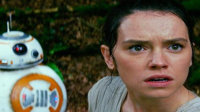 "Photo provided by Disney/Lucasfilm shows Daisy Ridley, right, as Rey, and BB-8, in a scene from the film, ""Star Wars: The Force Awakens,"" directed by J.J. Abrams. Lawrence Kasdan co-wrote the screenplay with Abrams.  The movie opens in U.S. theaters on Dec. 18, 2015.  (Film Frame/Disney/Lucasfilm via AP)"
