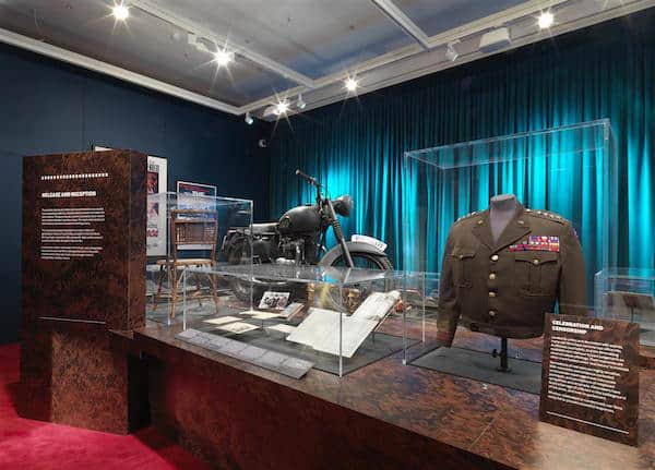 """View of """"Real to Reel: A Century of War Movies"""" exhibition at IWM London. Photographed 30th June, 2016."""
