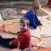 cousins playing trains together