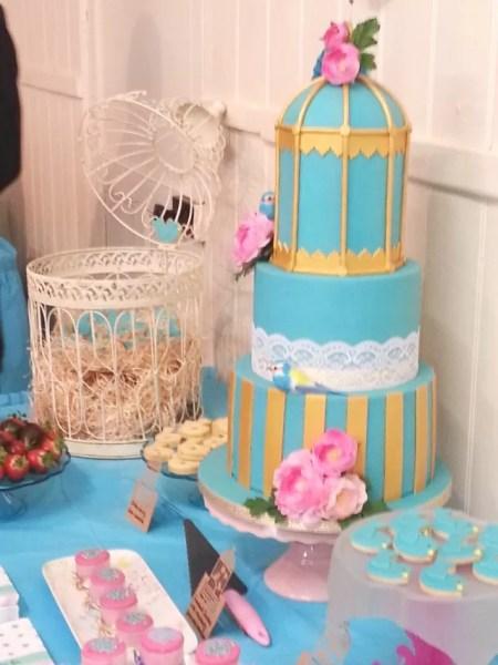turquoise birdcage cake