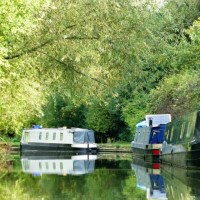 canal boat reflections