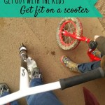 Getting fitter – scooter in the park while kids cycle