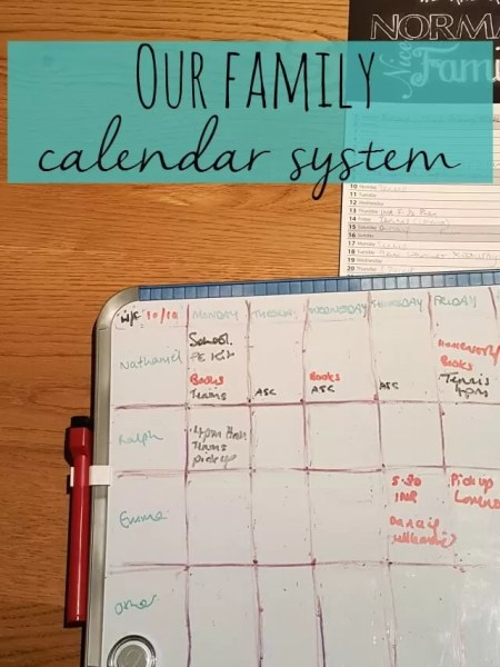 our family calendar system - Bubbablue and me