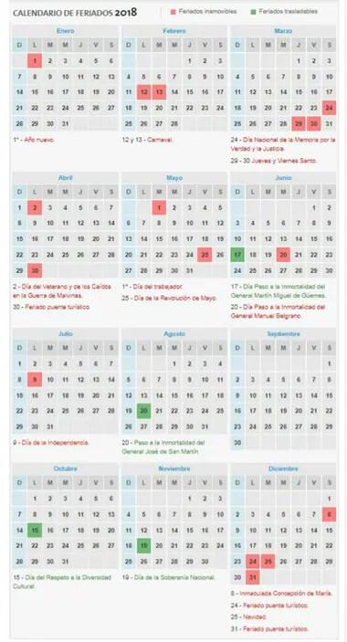 Feriados 2018 así quedó el calendario - LA NACION