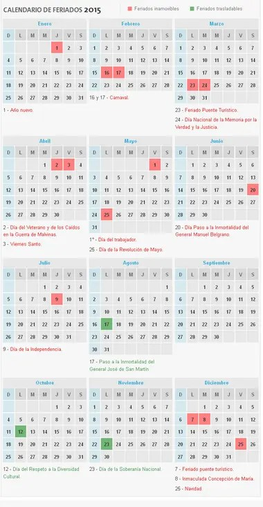 Conocé el calendario de feriados 2015 - LA NACION