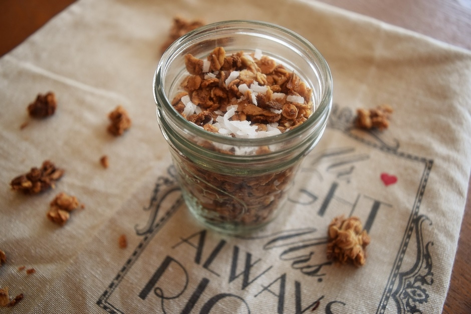 coconut maple granola, granola