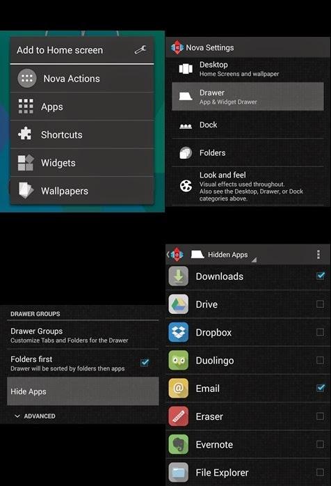 hiding apps nova