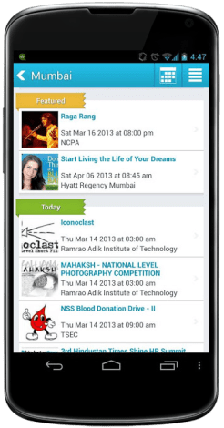 All Events in City Android App