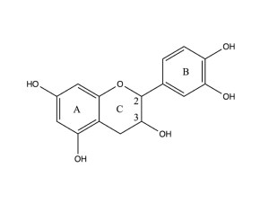 Catechin, a flavan-3-ol, is a tuype of natural phenol and antioxidant produced as a secondary metabolite in plants.