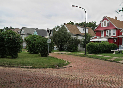 Brick streets and the elliptical grass plot at the center of Hager's Viola Park