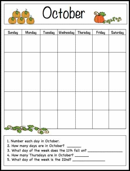 October Learning Calendar Template for Kids (Free Printable) - Buggy - Calendar Template