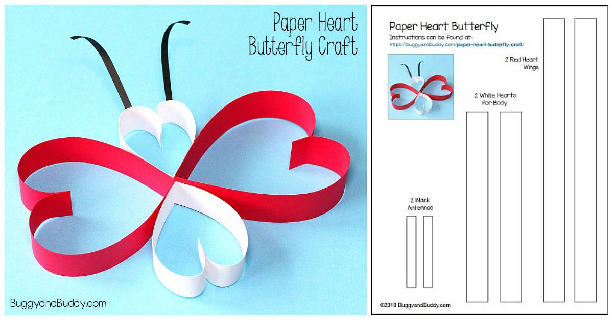 Paper Heart Butterfly Craft - Buggy and Buddy