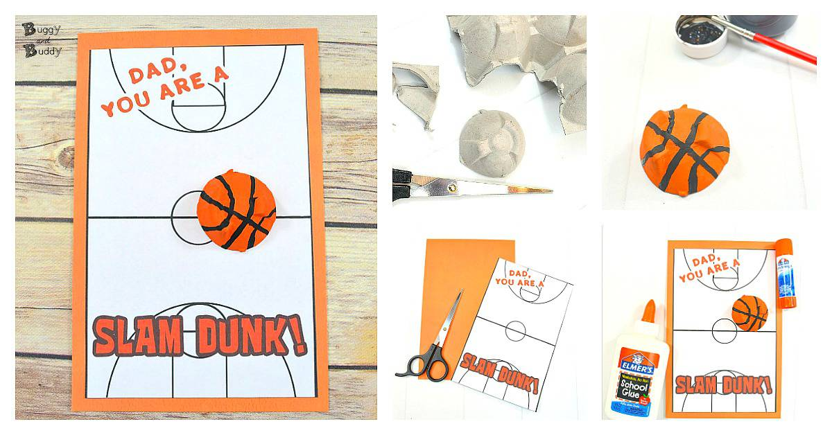 DIY Basketball Father\u0027s Day Card for Kids Using Egg Cartons - Buggy