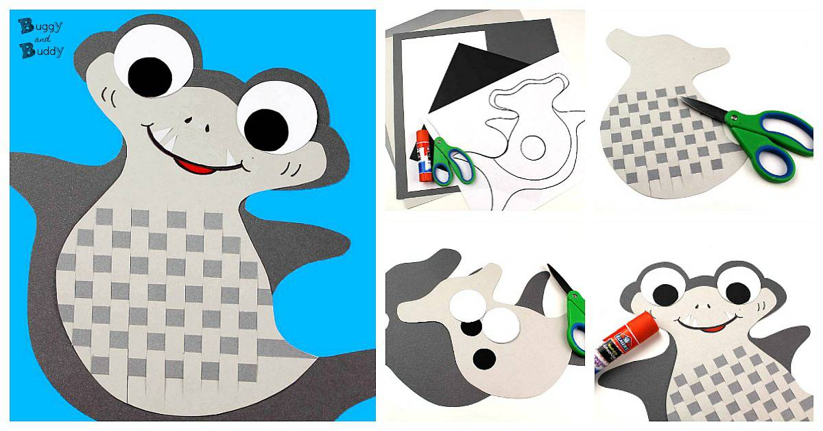 Woven Paper Shark Craft for Kids - Buggy and Buddy