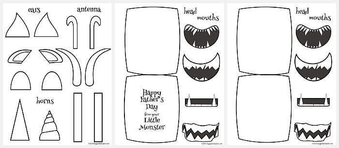 Monster Father\u0027s Day Card Craft for Kids with Free Templates - Buggy
