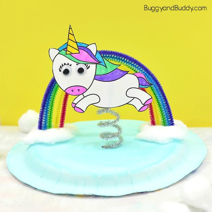 Unicorn and Rainbow Paper Plate Craft for Kids - Buggy and Buddy