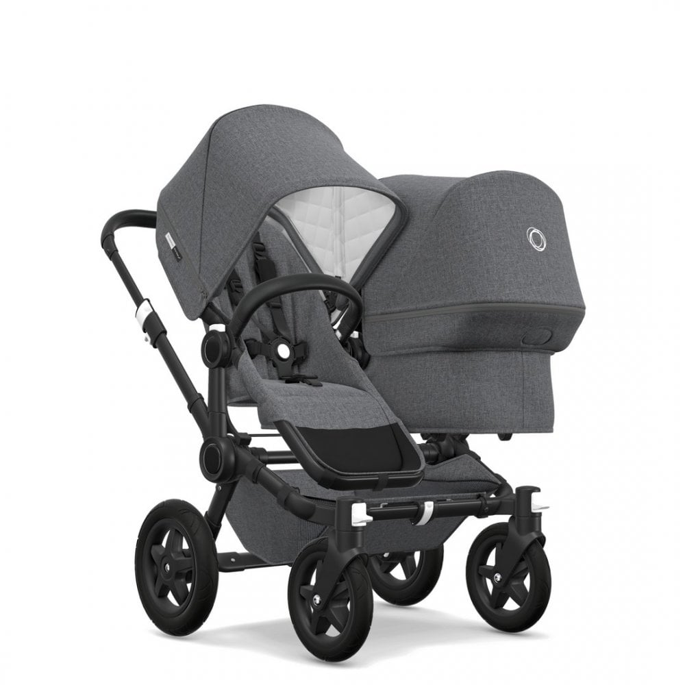 Bugaboo Donkey Duo Classic Donkey 2 Duo Classic Collection Pushchair Black Chassis Grey Melange Free Maxi Cosi Cabriofix