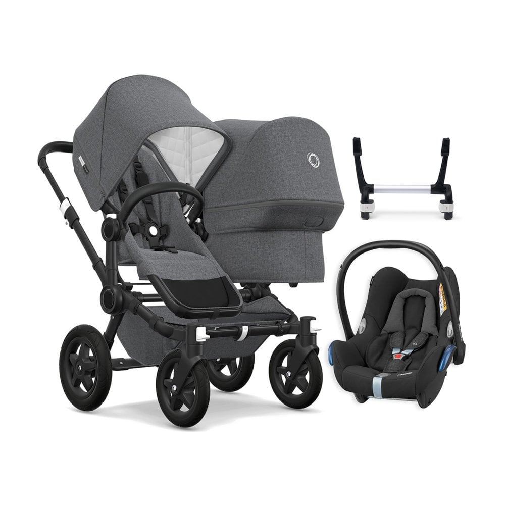 Double Pushchair Bugaboo Donkey 2 Duo Classic Collection Pushchair Black Chassis Grey Melange Free Maxi Cosi Cabriofix