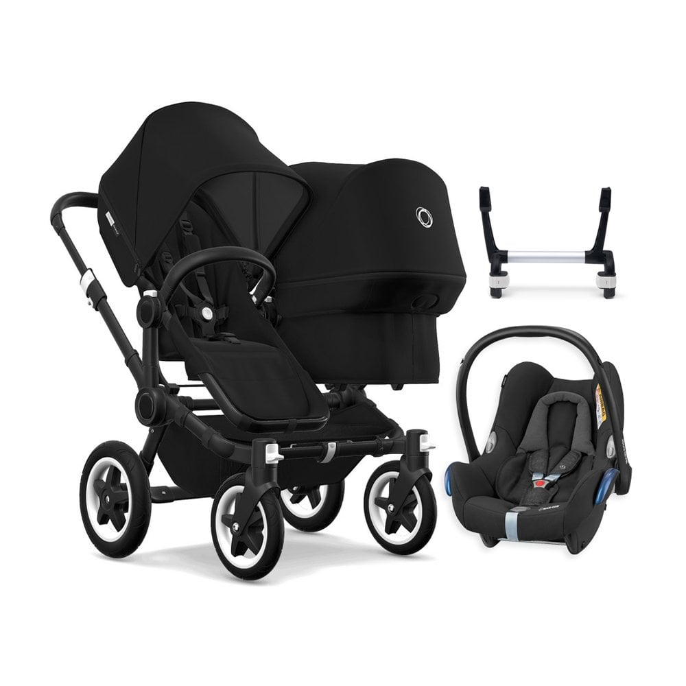 Double Pushchair Bugaboo Donkey 2 Duo Pushchair Black Chassis Black Free Maxi Cosi Cabriofix